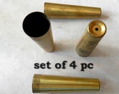 set of 4 pc MCM tappered turned leg brass leg ferrels vintage