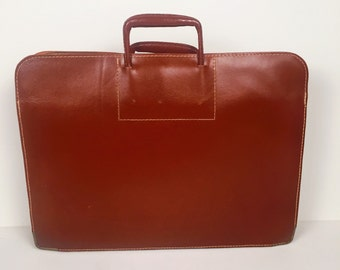 Vintage Large Leather Portfolio~Artist Expanding Portfolio