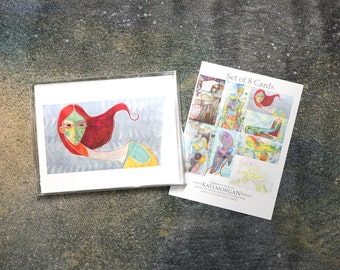 Set of 8 Blank Greeting Cards Contemporary Figures