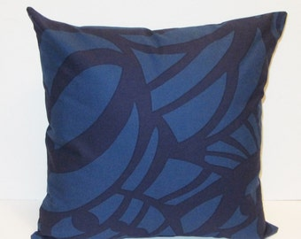 """Marimekko pillow cover in authentic blue Raakel fabric from Finland, 18"""" x 18"""", FREE SHIPPING Canada and US"""