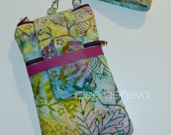 Ocean Batik Phone Case Blue Purple Orchid Lavender Batik Wristlet and Extra Back Zipper Pocket iPhone 4 5 6  Plus Samsung Note GS7