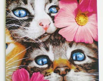Cats with pink flowers Mousepad