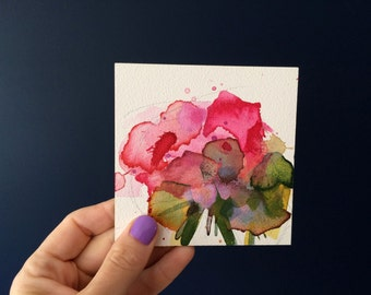 Pink Geranium no. 3 Original Floral Watercolor Painting by Angela Moulton 4 x 4 inch on Panel