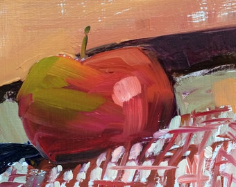 Apple on Checkered Cloth Original Still Life Oil Painting by Angela Moulton 5 x 5 inch on birch plywood panel.