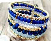 Blue Gold Beaded Cuff Bracelet, Memory Wire Jewelry, Chunky Bohemian Gift Idea for Mom / Sister / Mother in Law/ Step Mom, Water Lovers