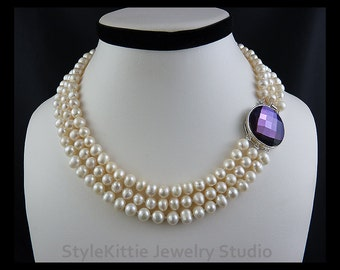 White Freshwater Cultured Pearls, Multi Strand Necklace, Large Purple Faceted Glass Clasp, Moveable Clasp, Luminous, Ringed, June, Jewelry