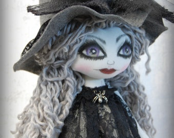 Witch Calista Mauve  cute Textile Art OOak Halloween Decor Big eye lowbrow Gothic Art doll handmade