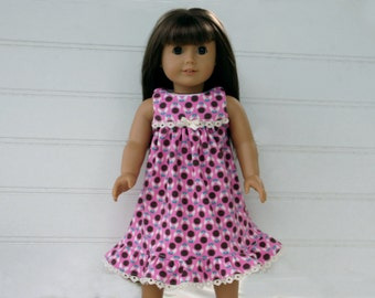 FREE SHIPPING / 18-Inch American Girl Doll Nightgown, Cotton-KNIT //  Quality Handmade, Eyelet Trim // Ready to Ship