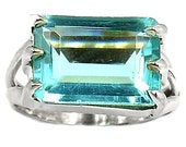 Blue Topaz Quartz Ring in Solid Sterling Silver Size 7