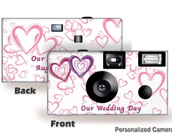 10 cameras-Wedding Hearts Disposable Camera- single use camera-PERSONALIZE-wedding camera, Anniversary (F50203)