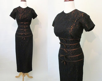 "CLEARANCE Chic 1950's Black Lace Curve Hugging Cocktail Dress Made for Tall Girl by ""Over Five-Seven Shop"" Rockabilly VLV Pinup Size-Medium"