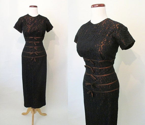 """CLEARANCE Chic 1950's Black Lace Curve Hugging Cocktail Dress Made for Tall Girl by """"Over Five-Seven Shop"""" Rockabilly VLV Pinup Size-Medium"""