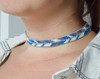Beaded Choker Necklace in Leather & Silk with Chevron Pattern in Purple and Blue
