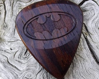 Wood Guitar Pick - Premium Quality - Handmade With Cocobolo Rosewood - Laser Engraved Both Sides - Actual Pick Shown - Artisan Guitar Pick