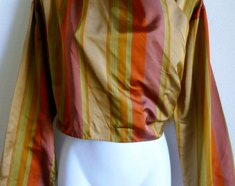 Romeo GIGLI striped silk wrap top with buttoned fastening