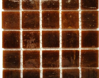 3/4 in. Saddle Brown Stained Glass Mosaic Tiles//Machine Cut Tiles//Mosaic//Mosaic Supplies