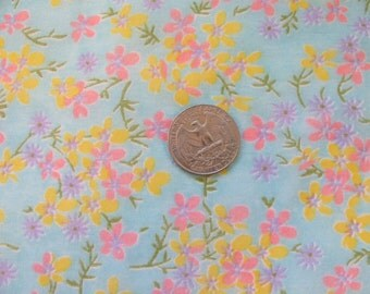 "Vintage Fabric - Semi Sheer - Gauze 44"" Wide - Blue Green w/ Flowers - Small Print - By the Yard"