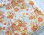 Vintage QUEEN Flat Bed Sheet Orange Mustard Flowers 1960's