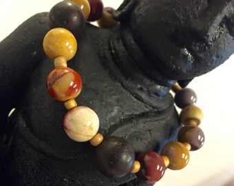 Mookaite and lava rock bracelet