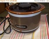 Valentines SALE Vintage Mini Crock Pot, Slow Cooker, Crockette, 1 Quart, Chocolate Brown