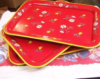 Vintage Metal Serving Trays, (3) Cherry Red, 50s, 60s, Yellow White Flowers, Glamping, BBQ, TV Trays