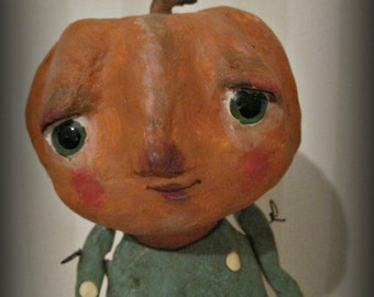 Pumpkin doll paper mache OOAK doll folk art