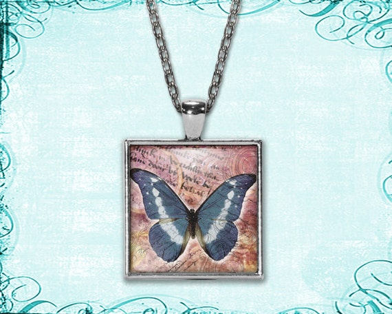 Blue & White Butterfly Glass Tile Pendant - necklace included