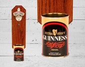 Wall Mounted Bottle Opener with Vintage Guinness Beer Can Cap Catcher - Gift for Guy and Groomsmen