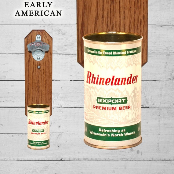 Rhinelander Wall Mounted Bottle Opener with Vintage Beer Can Cap Catcher - Groomsmen Gift