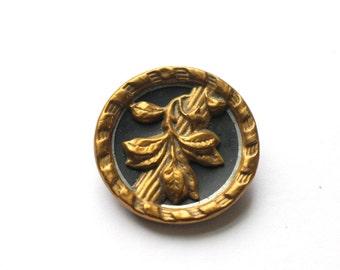 Antique Leaf Button Large