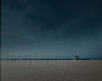 Dark Blue Beach Photography, Gray, Stormy Ocean, Santa Monica, Lifeguard Hut, California Print, Dark Beach Decor
