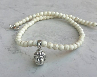 White Buddha Pendant Gemstone Necklace in silver and howlite