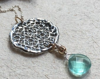 Silver gold pendant, round lace necklace, round pendant, apatite necklace, large pendant, bridal necklace, simple - Silver Lace N2035