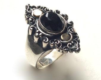 Black onyx ring, Gemstone ring, Gypsy jewelry, mixed metals ring, boho chic ring, bohemian ring, Tibetan ring, unique ring - Black sky R2245