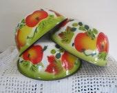Vintage Enamel Bowls Colorful Fruit Design Set of 3