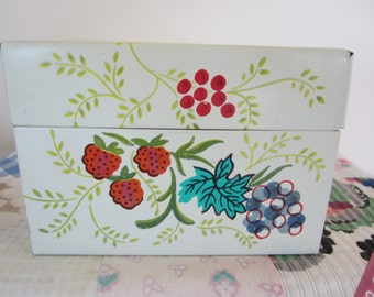Vintage J Chein Lithographed Recipe Box with Index Cards Recipes Fruit Design