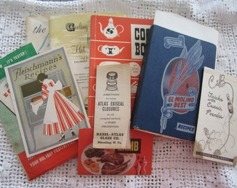 Vintage Cook Book Lot Soft Cover Books & Pamphlets Set of 9 Nice Variety