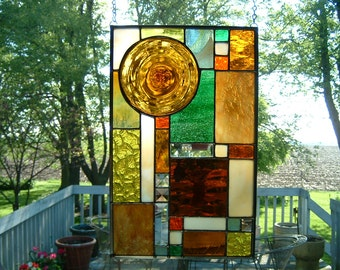 Amber  Roundel Prairie Stained Glass Panel Window Hanging Sun Catcher