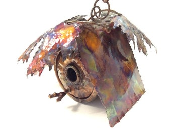 Copper Hanging  Vine Bird House