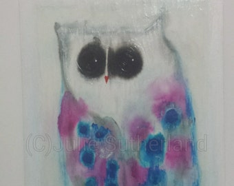 Original Colourful Owl Painting by Artist Julie Sutherland