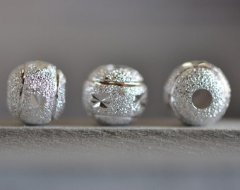 10pcs 925 Sterling Silver Matte Round Beads 6/ 8mm, Frosted Silver Spacer Beads  (S002)