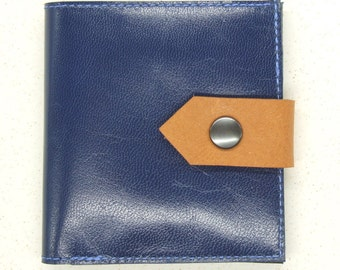 Blue leather card wallet
