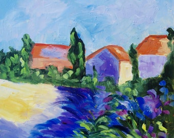 Les Beaux France Modern Impressionist Original Oil Painting French Landscape