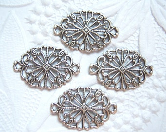 4 - Antique silver plated brass filigree connectors -  XB152