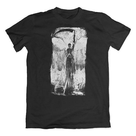 Vintage reaper illustration tee. Death horror t-shirt. Halloween