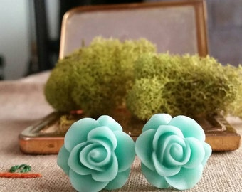 Flower Plugs, Wedding Gauges, Prom Plugs, Light Aqua, Roses
