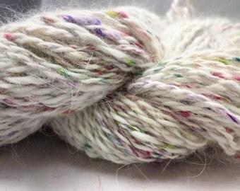 White Angora and Colorful Silk Handspun Angora and Silk Yarn