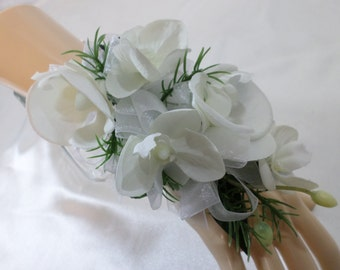 Wrist Corsage - White Silk Phalaenopsis Orchid Corsage - Floral Corsage - Mother of the Bride Corsage - Prom Corsage