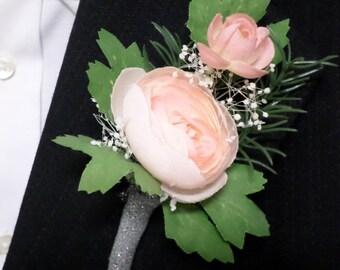 Peach Garden Rose Boutonniere peach boutonniere | etsy