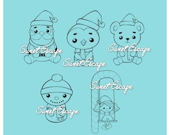5 Kawaii Christmas Friends Digital Stamps (Digi Pack)